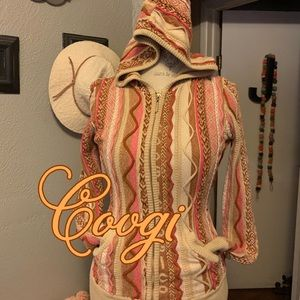 Coogie | Tan and Pink Hooded Sweater